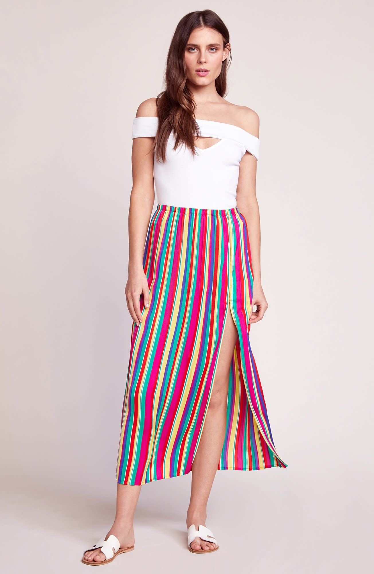 BB Dakota Outside The Lines Rainbow Pleated Skirt