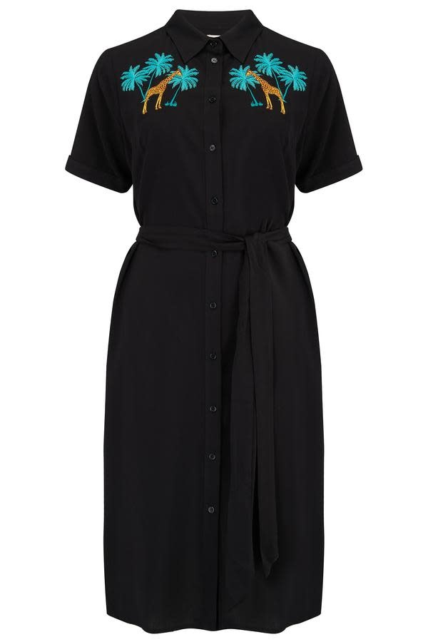 Sugarhill Brighton Justine Giraffe Embroidered Shirt Dress