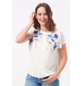 Sugarhill Brighton Flamingos & Flowers Embroidered Top