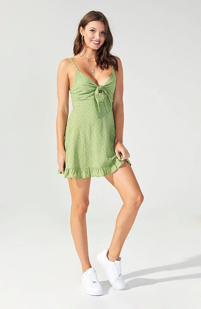 MINKPINK Safari Star Light Green Mini Dress