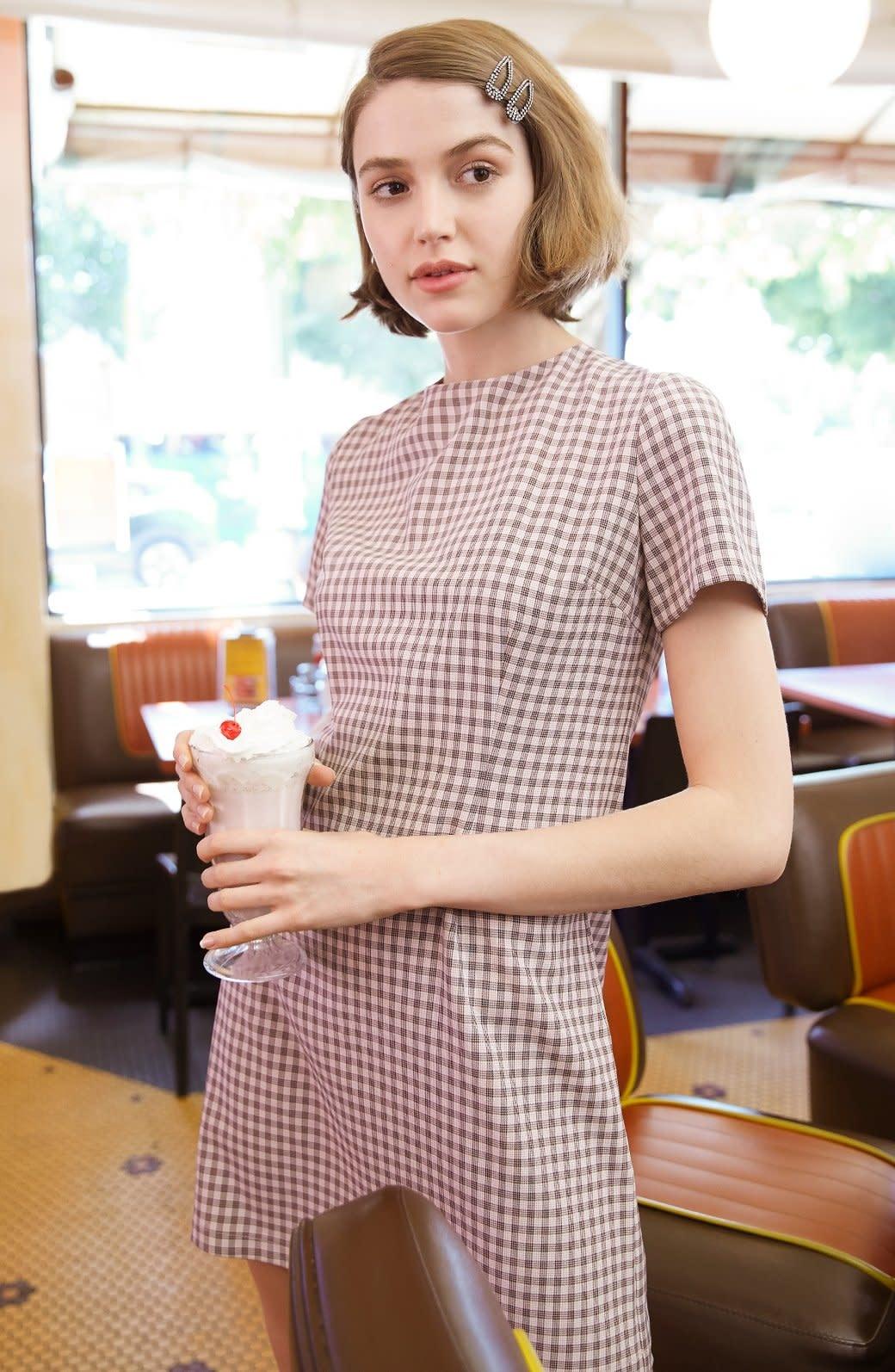 BB Dakota Checked Out Rose Quartz Shift Dress