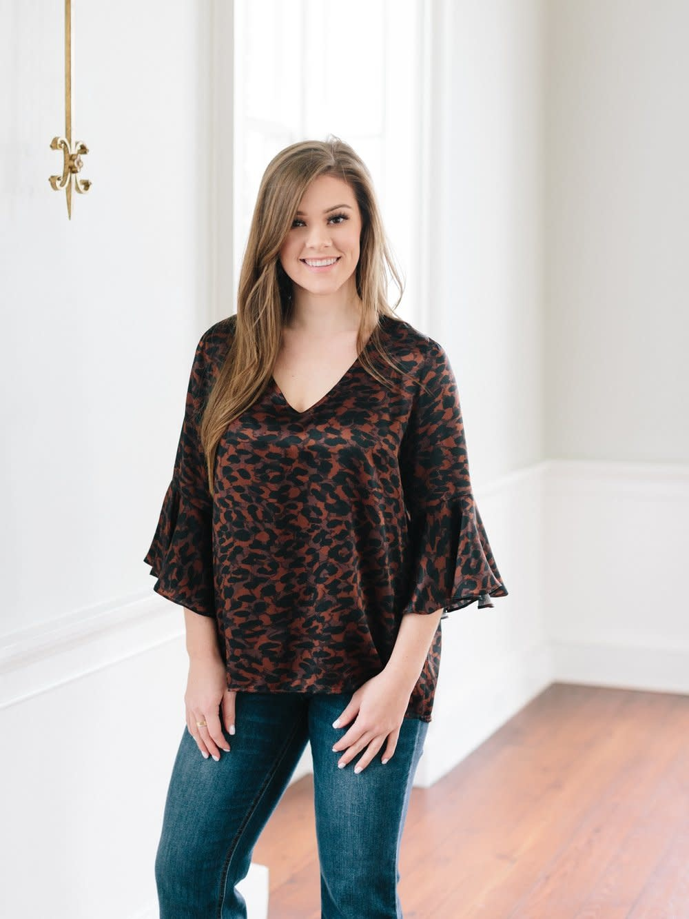 La Roque Park Top in Brown Leopard
