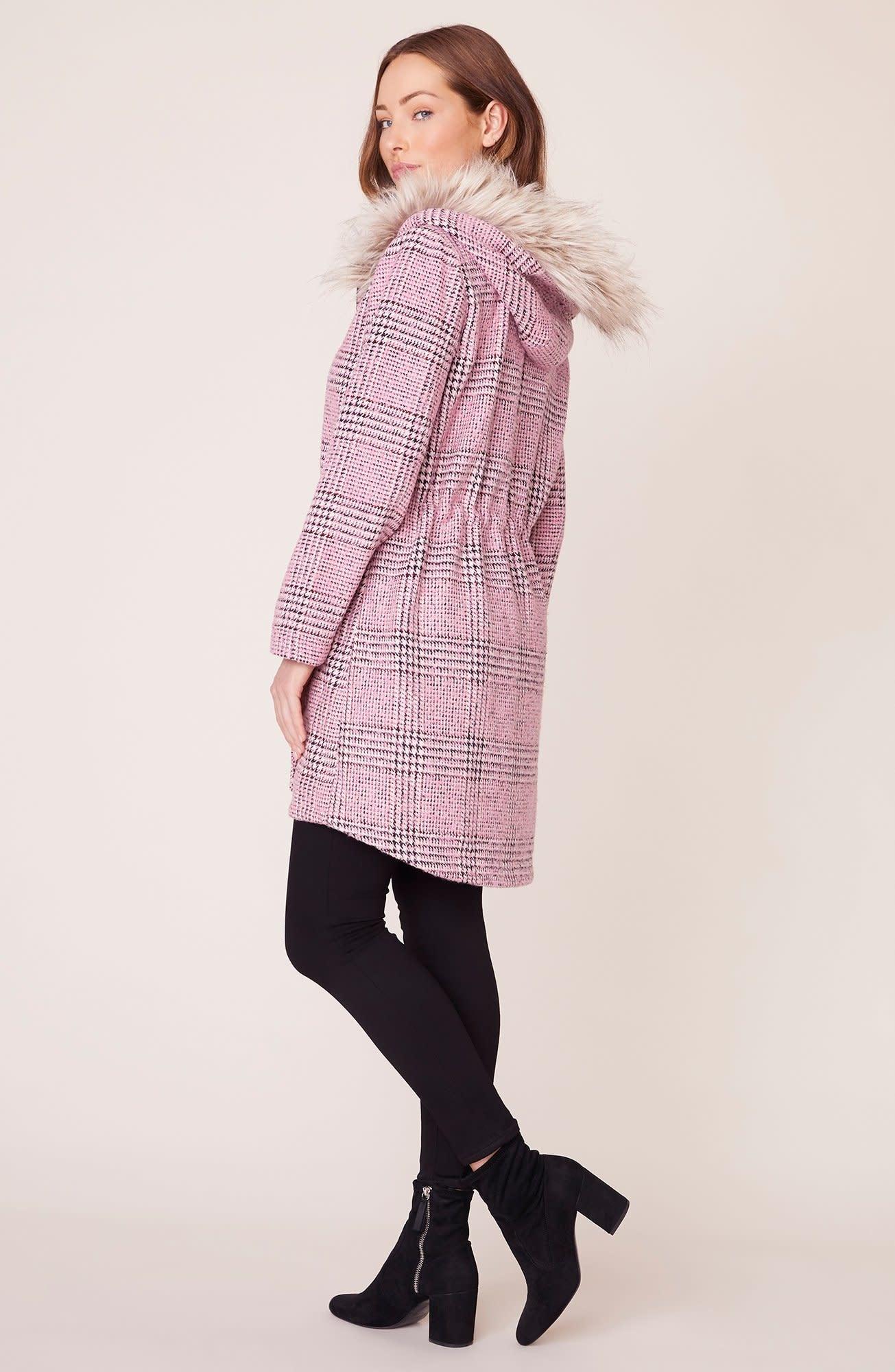BB Dakota Pink Slip Plaid Coat