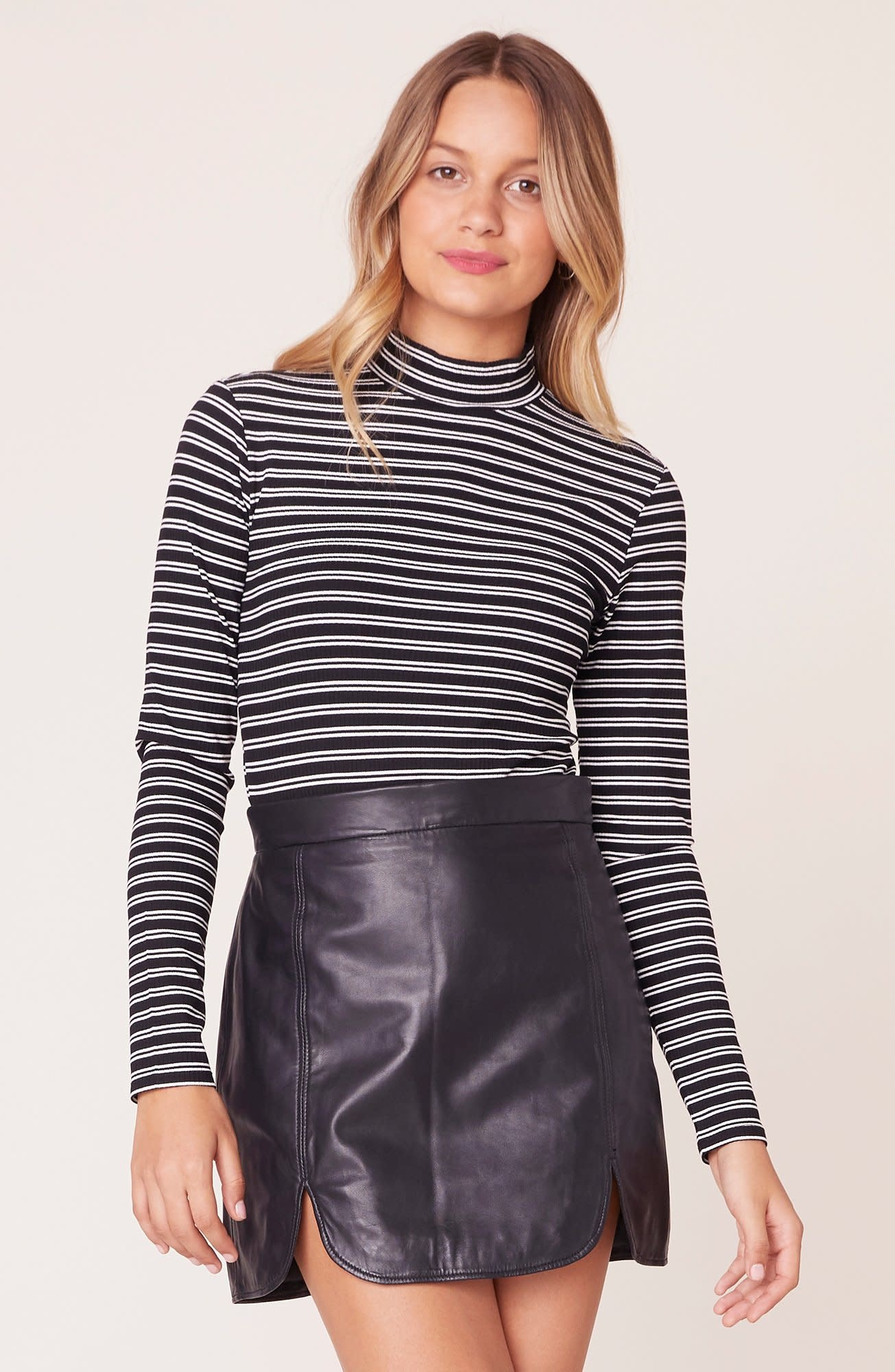 BB Dakota Jailbird Striped Mock Neck Top