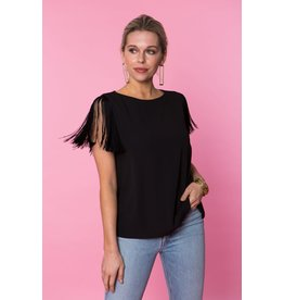 Crosby By Mollie Burch Farrah Fringe Top in Black