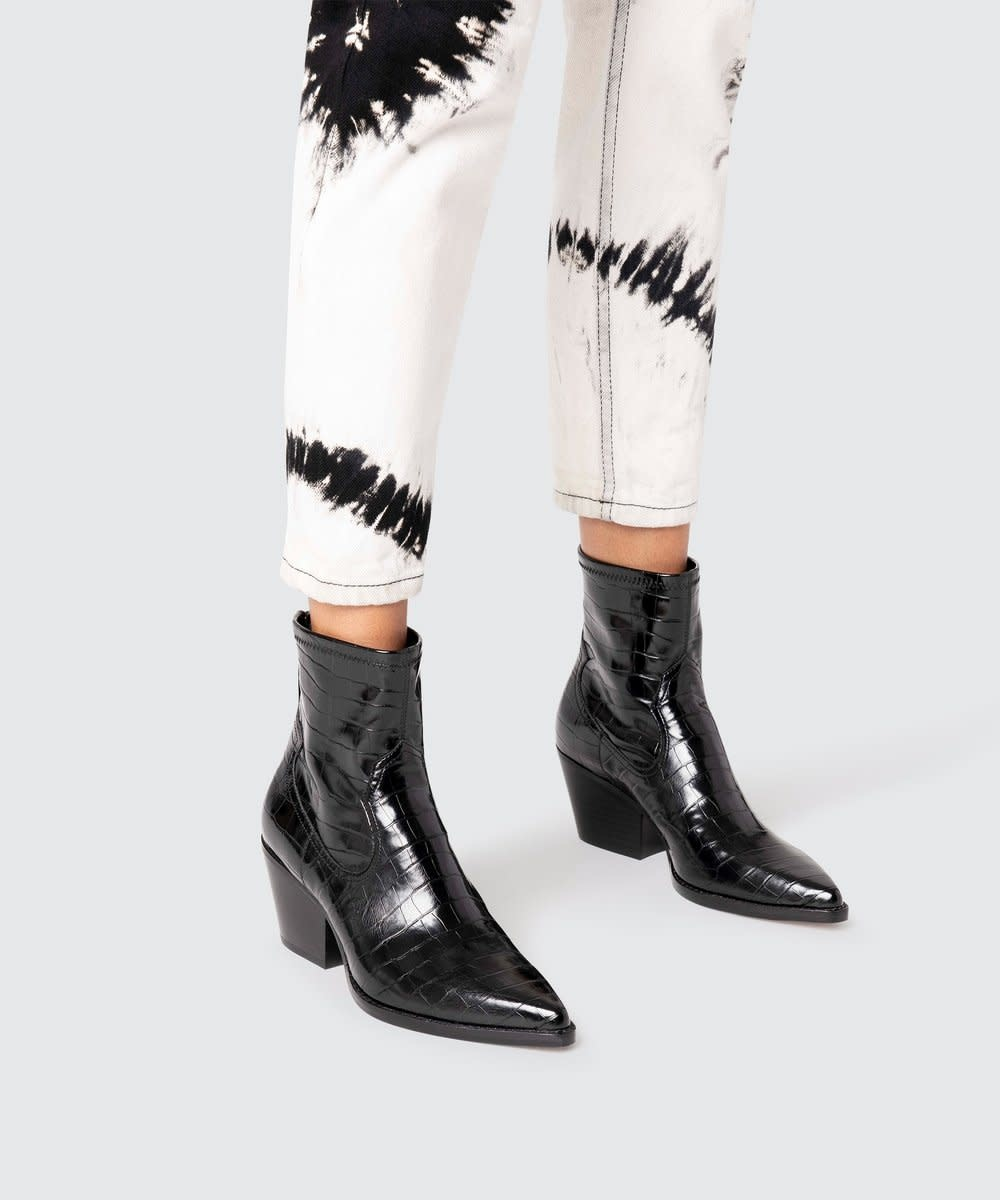 Dolce Vita Shanta Booties in Black Croco