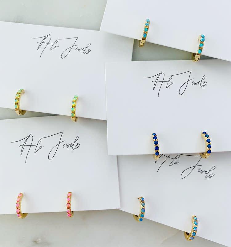 ALV Jewels Coral Opal Huggie Hoops