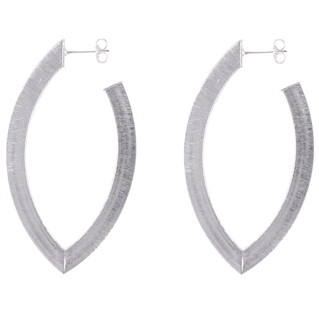 Sheila Fajl Alba Hoop Long Eye Shape Silver