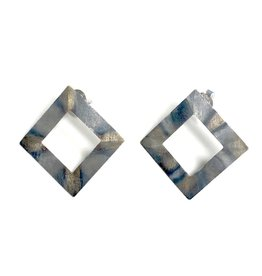 Sheila Fajl Seline Square Earrings Burnished Silver