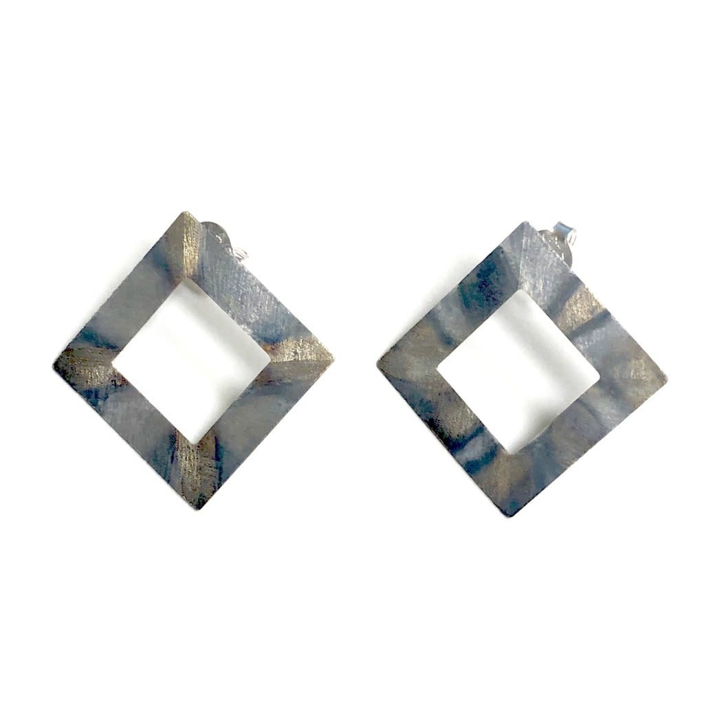 Sheila Fajl Seline Square Earrings Burnished Silver