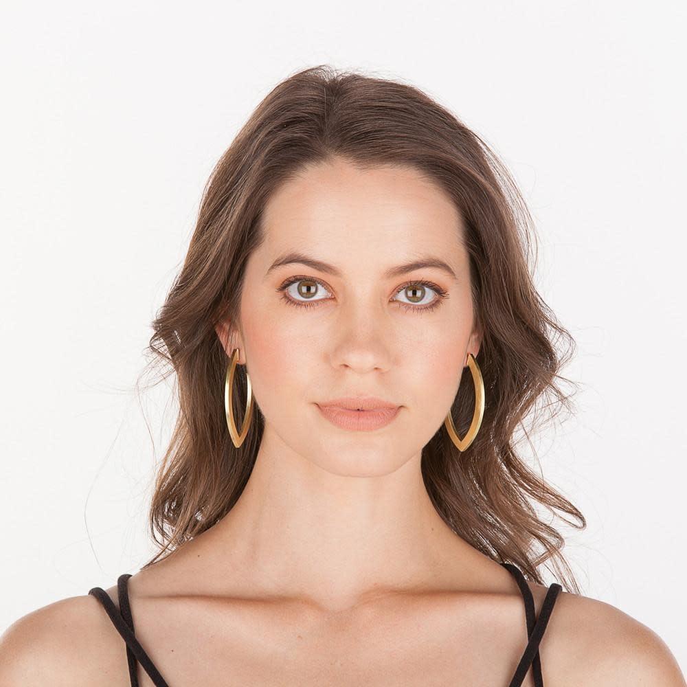 Sheila Fajl Smaller Alba Hoops Long Eye Shape Gold