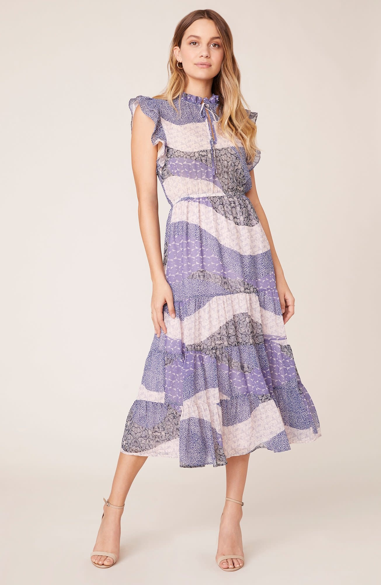 BB Dakota All Mixed Up Lavender Midi Dress