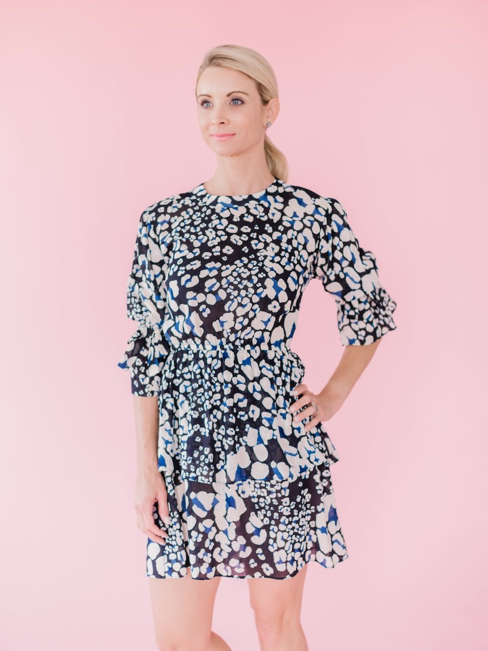 La Roque Rebecca Dress in Black/Blue Animal