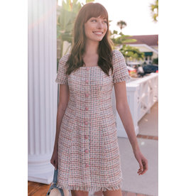 Gal Meets Glam Stacey Pink Tweed Dress