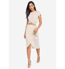 MINKPINK Faux Wrap Skirt Khaki Stripe