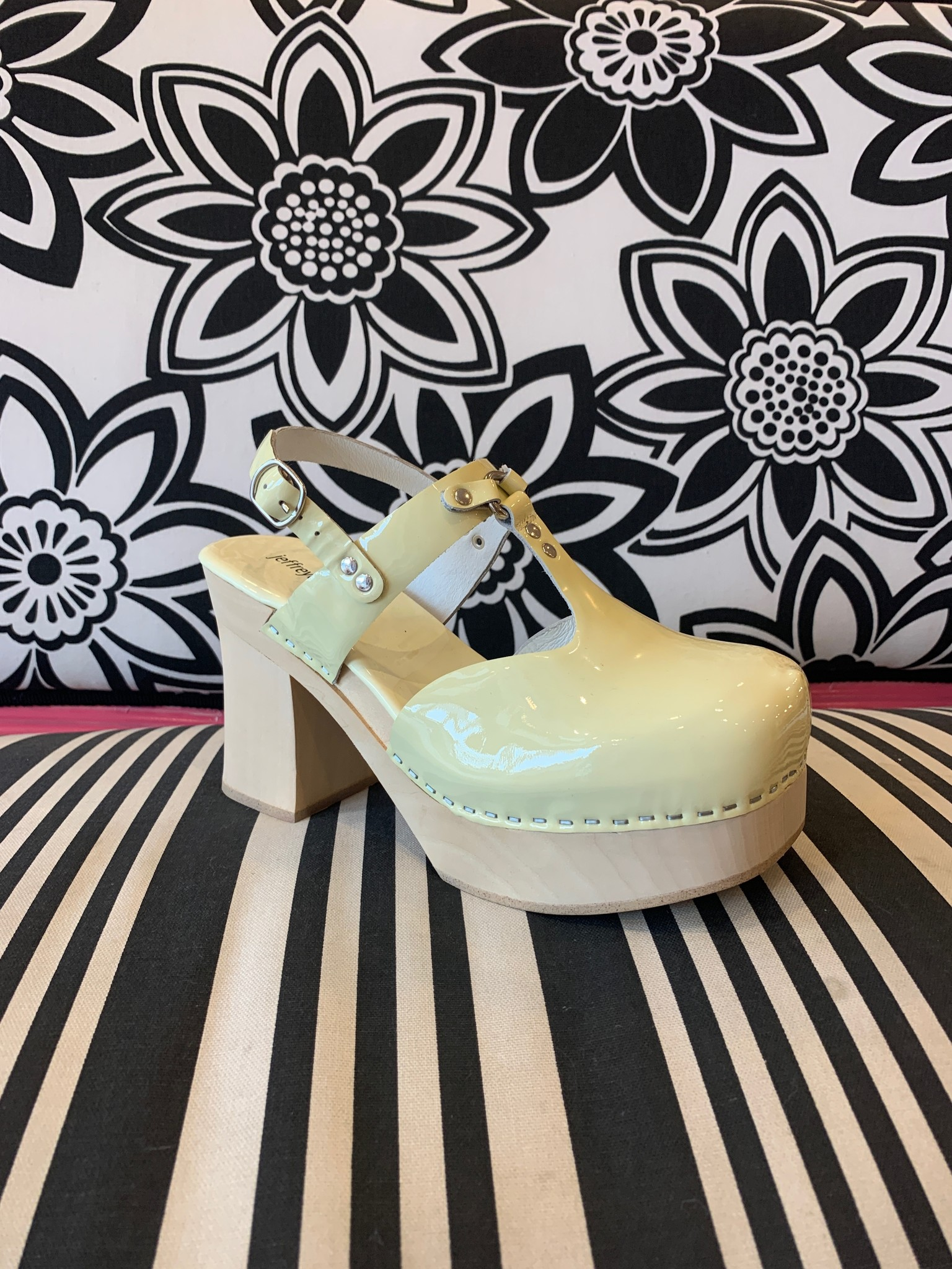 Jeffrey Campbell Nymph Cream Pattent Clog