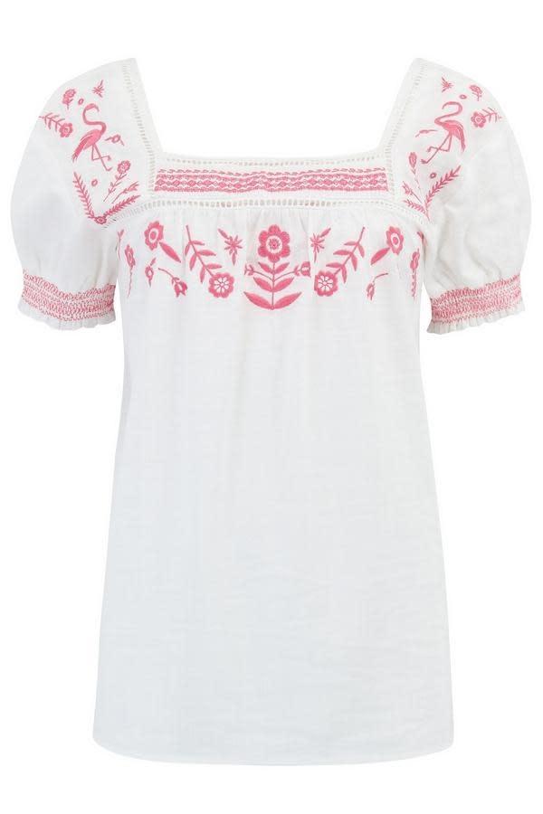 Sugarhill Brighton Alva Flamingo Embroidered Top