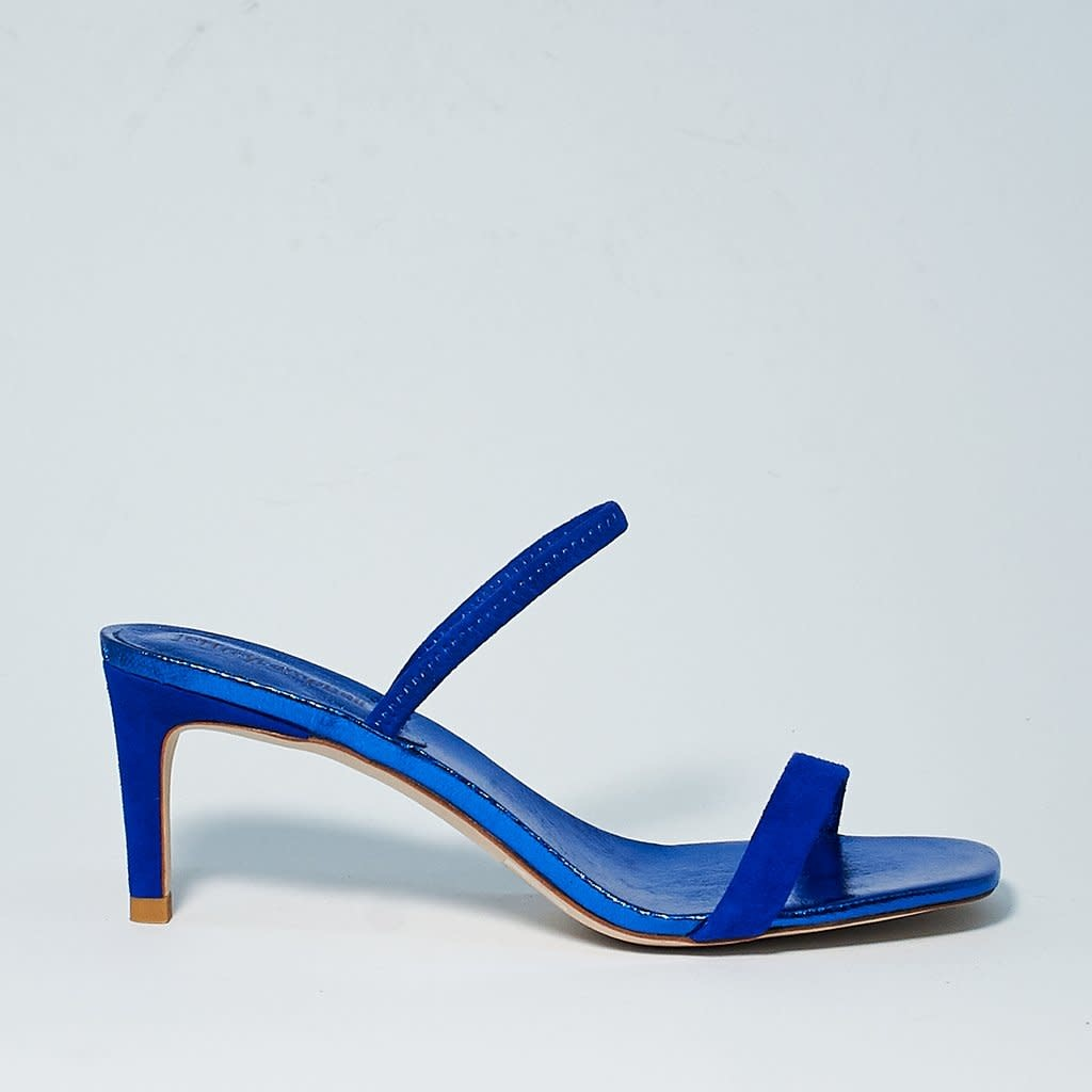 Jeffrey Campbell Hera-Hi Metallic Blue Sandal