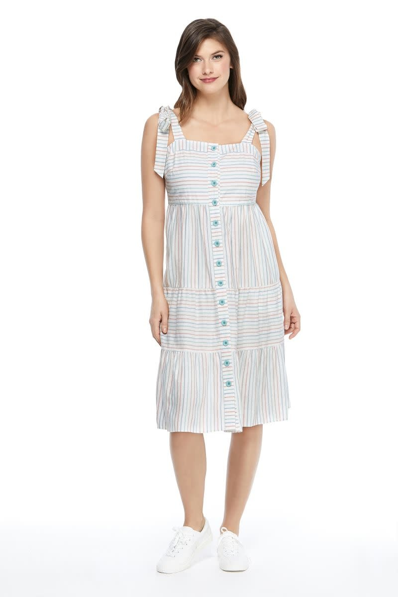 Gal Meets Glam Connie Rainbow Stripe Midi