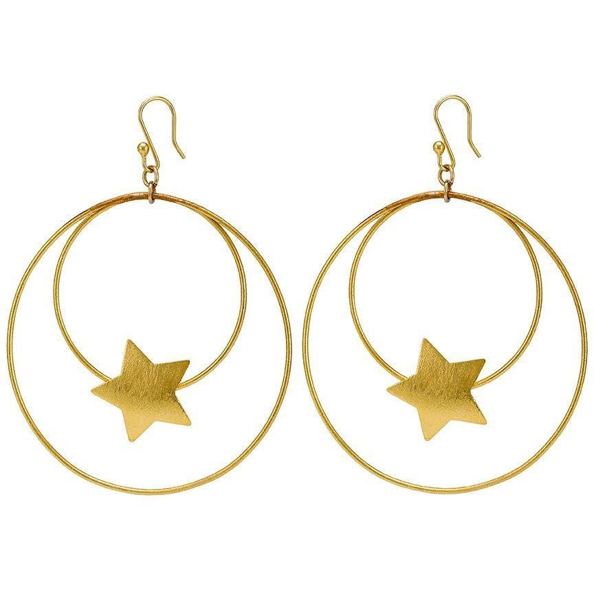 Sheila Fajl Vega Star Front Hoop Gold