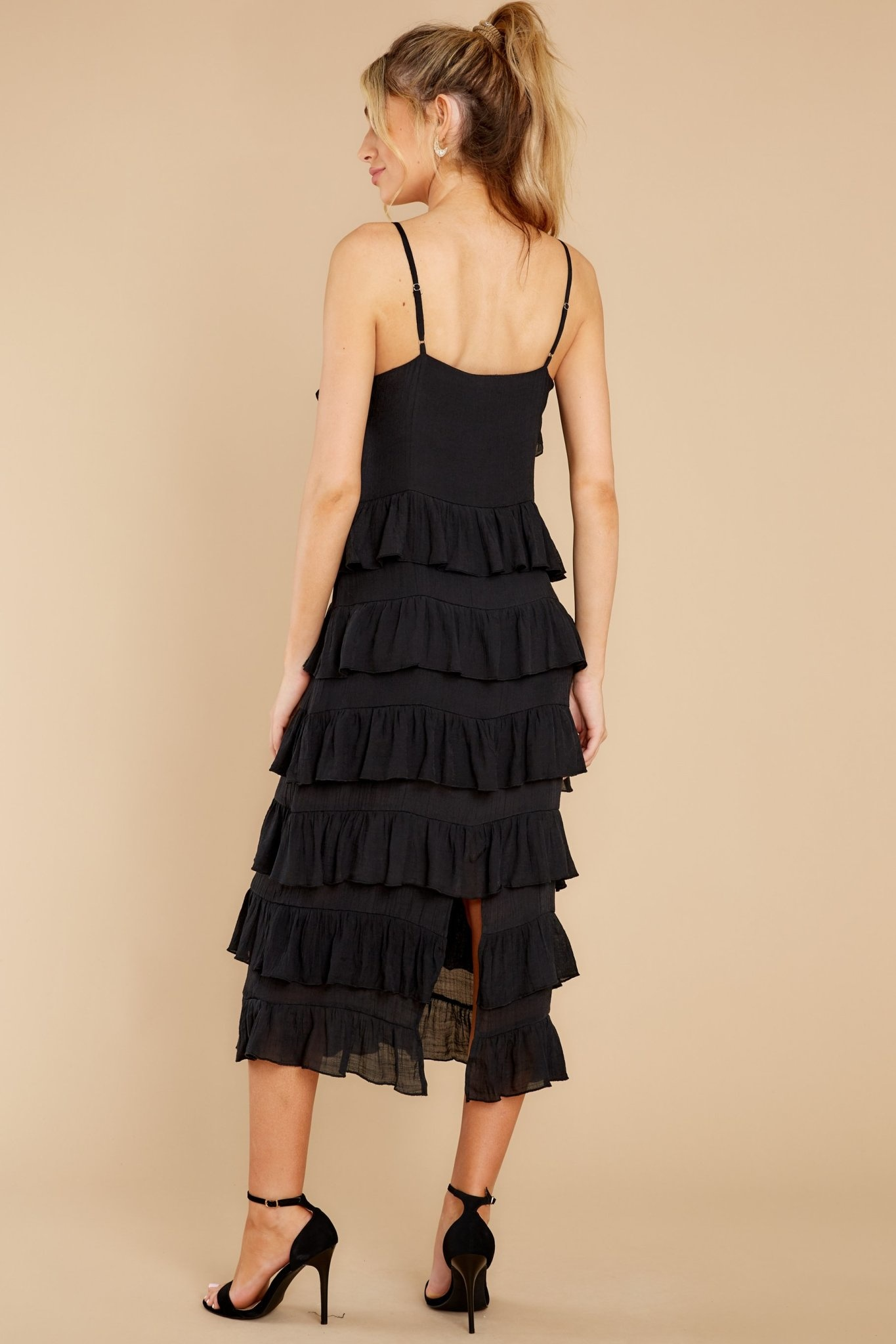 MINKPINK Verity Strappy Frill Black Dress