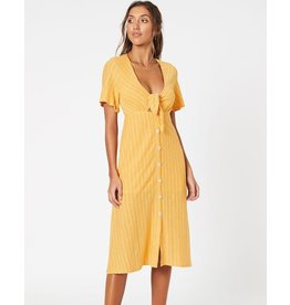 MINKPINK Yellow Tie Front Midi Dress