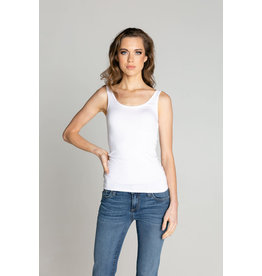 S'edge Apparel Milan Scoop Neck Tank White