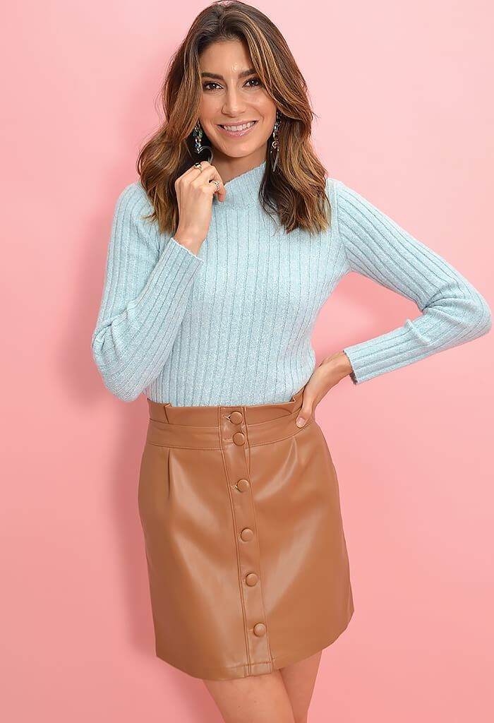 Cupcakes and Cashmere Joanie Dark Camel Skirt