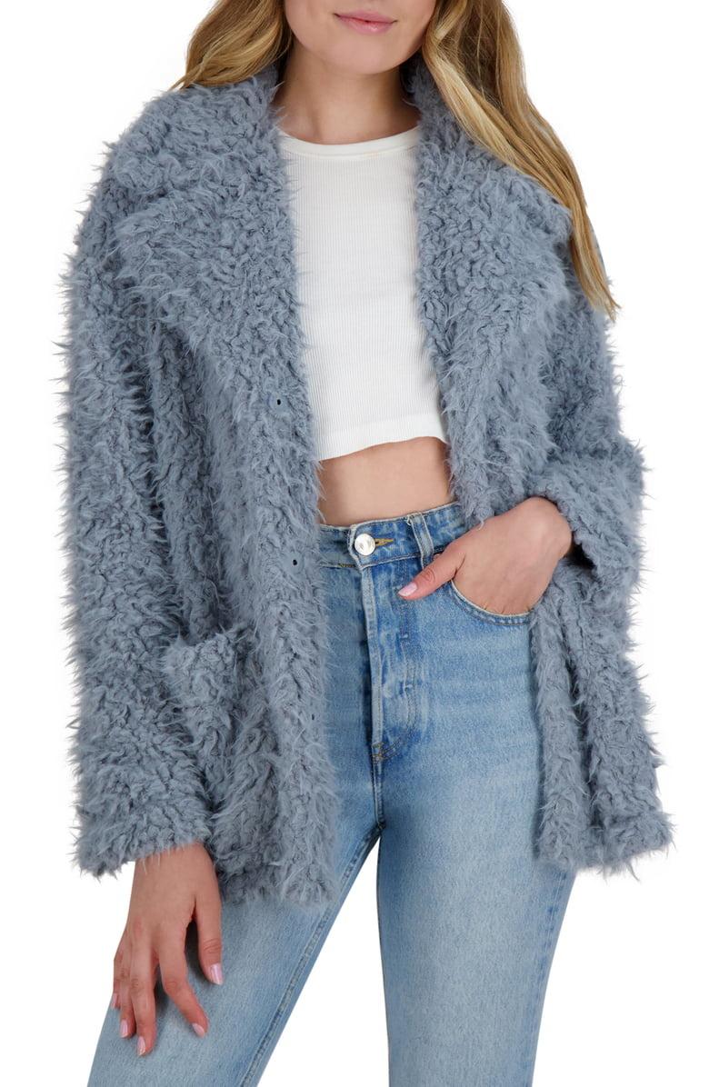 BB Dakota Warning Signs Dusty Blue Faux Fur