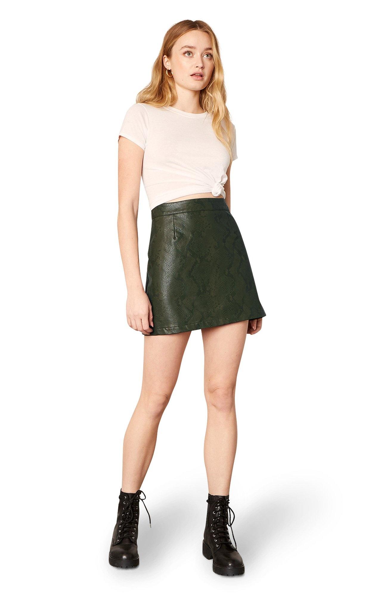 Jack by BB Dakota Snake A Leg Army Green Skirt
