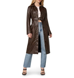 Julian Espresso Faux Leather Snake  Coat