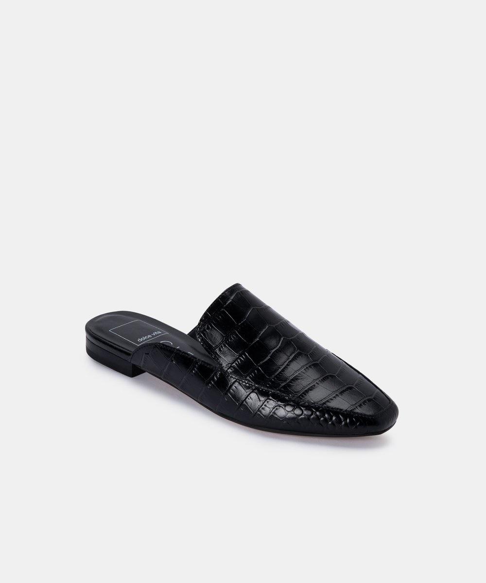 Dolce Vita Harmny Noir Croco Slide