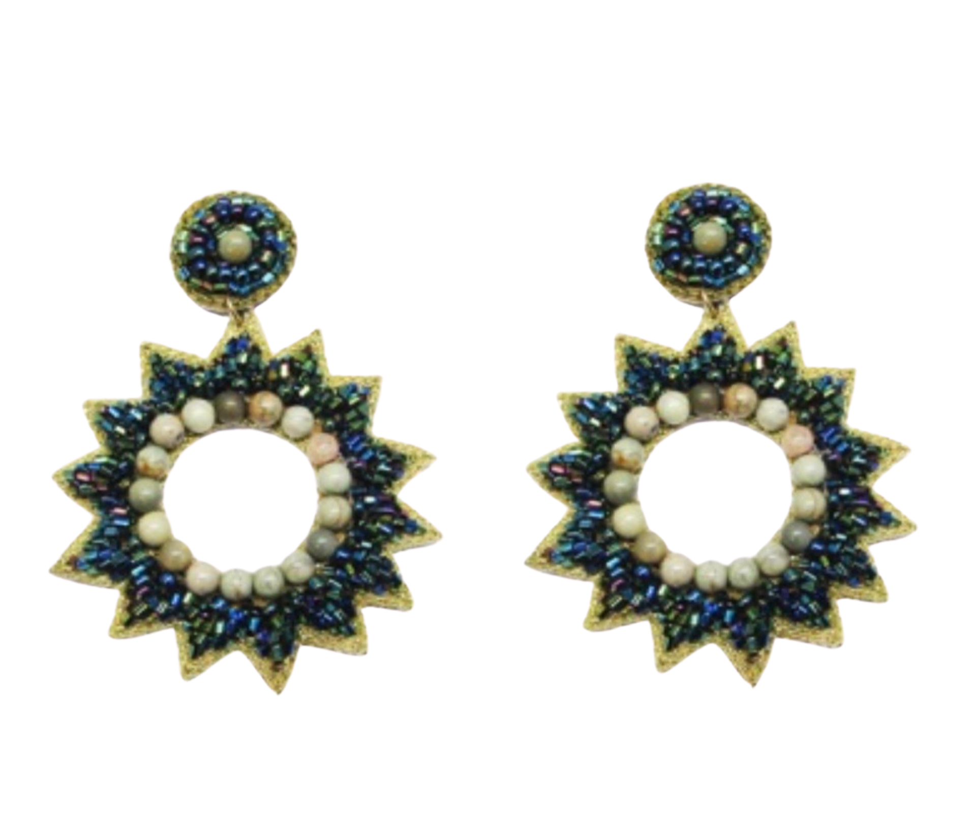 Allie Beads Emerald Star Burst Earrings