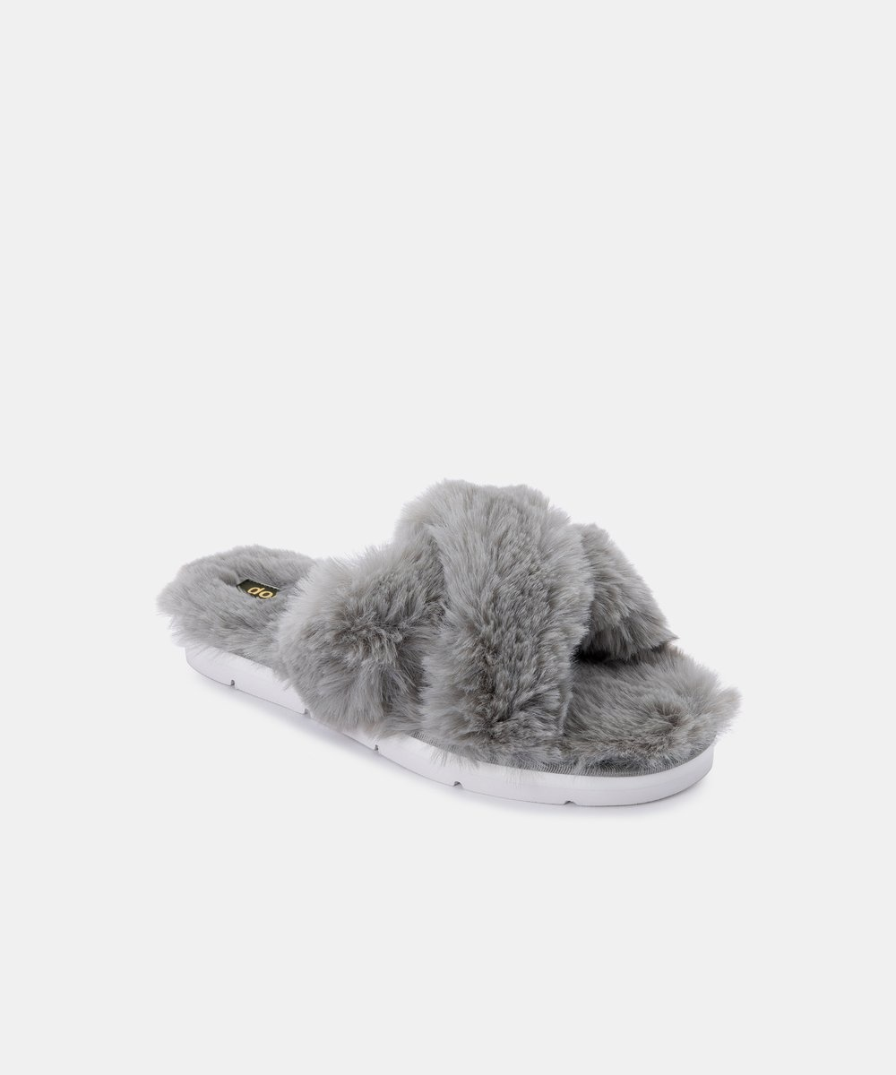 Dolce Vita Pillar Gray Faux Fur Slippers