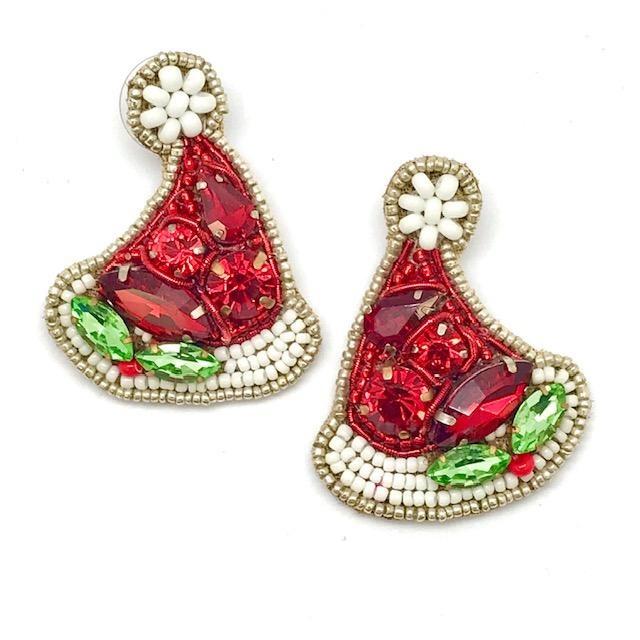 Allie Beads Santa Hat Earrings