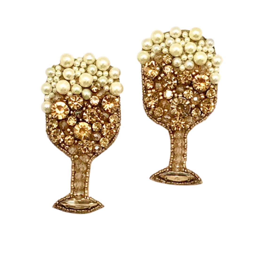 Allie Beads Champagne Glass Earrings