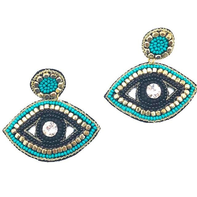 Allie Beads Turquoise + Gold Accent Eye Drop Earrings