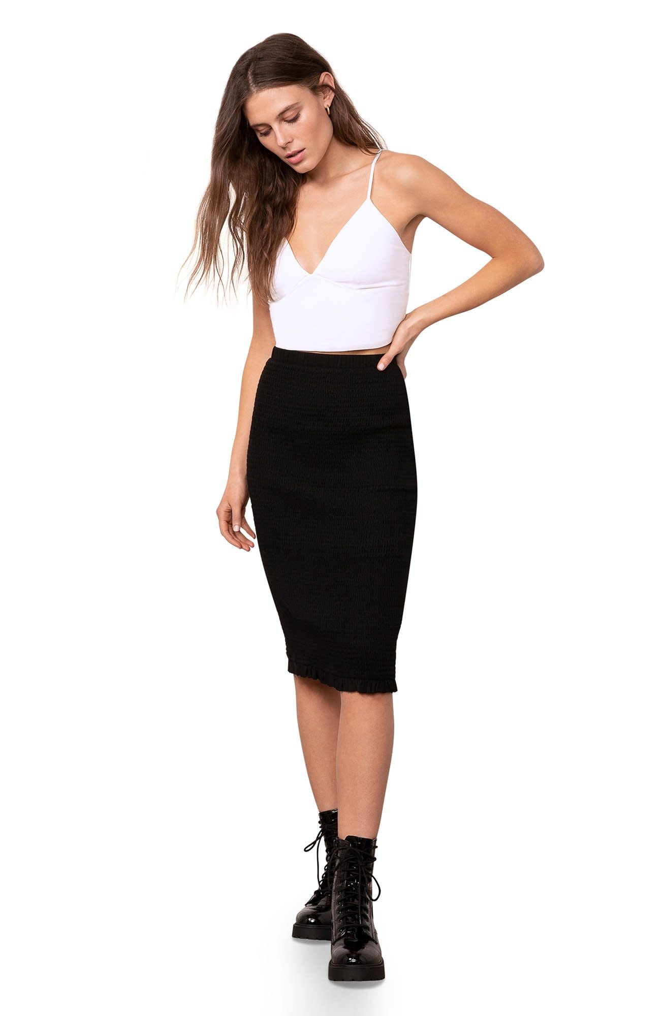 BB Dakota Smocked & Amazed Midi Skirt