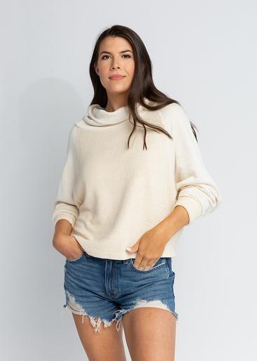 S'edge Apparel Liv Cowl Neck Sweatshirt Cream