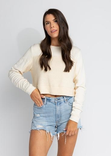 S'edge Apparel Rhodes Cropped Sweatshirt Cream