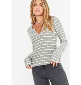 Project Social T Sage Striped Cozy Henley