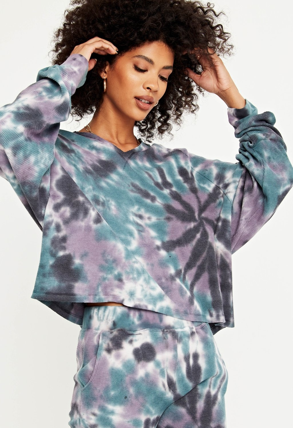 Project Social T Rolling Tie Dye Thermal Top