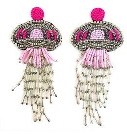 Allie Beads Pink Jellyfish Earrings