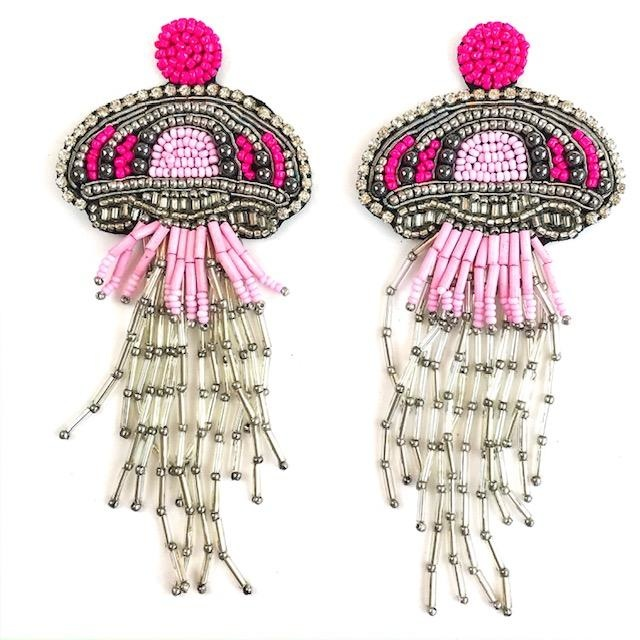 Allie Beads Pink Jellyfish Earrings
