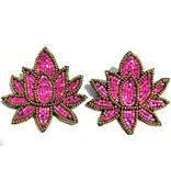 Allie Beads Pink Tulip Stud Earrings
