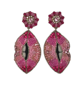 Allie Beads Pink Lips Earrings