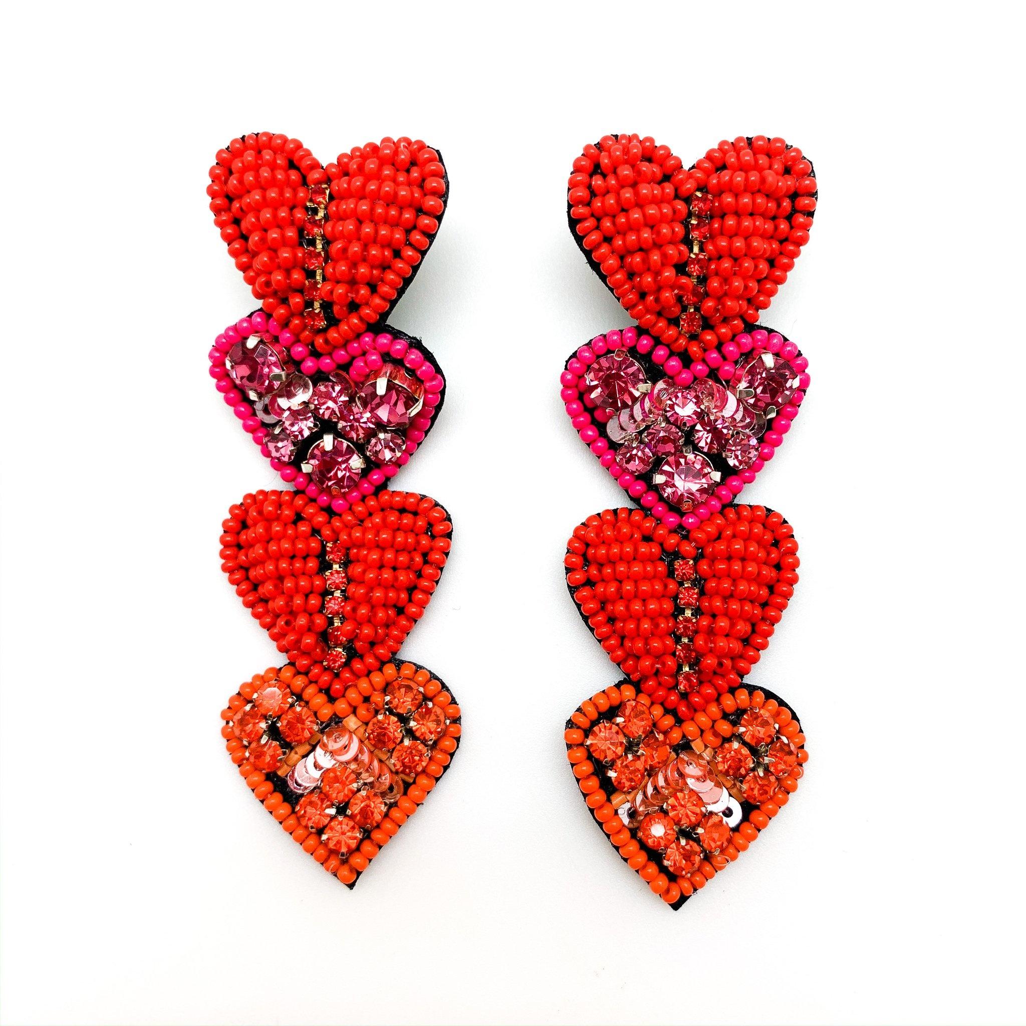 Allie Beads Heart Drop Earrings