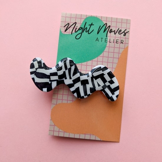 Polymer Clay Static Age Squiggle Hair Clip