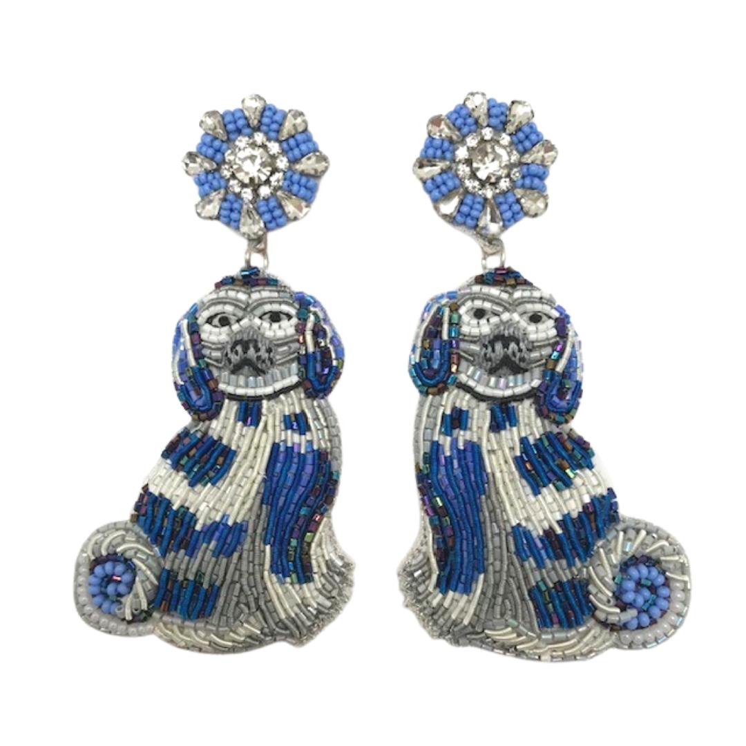 Allie Beads Blue Dog Earrings