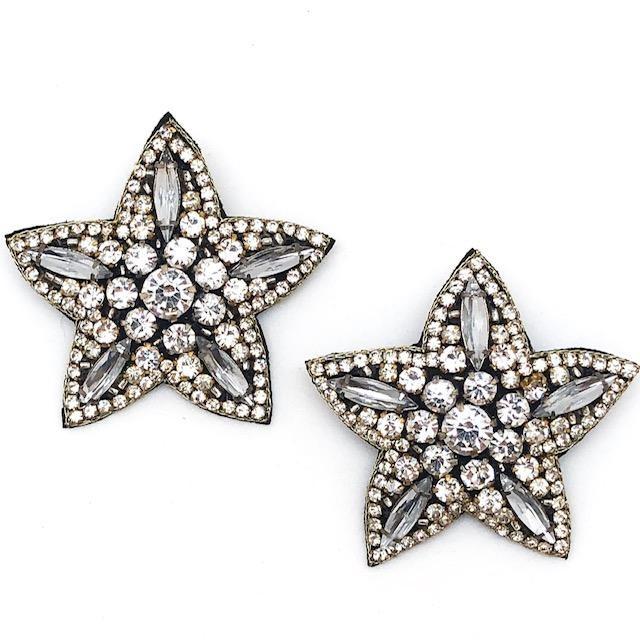 Allie Beads Silver Statement Star Studs